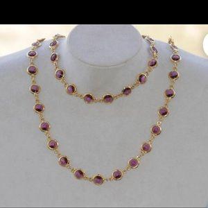 """Swarovski Purple and Gold Necklace 16"""""""